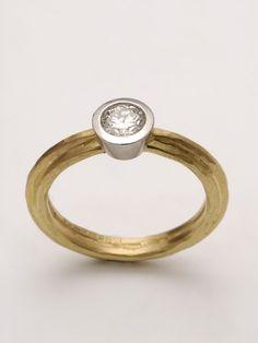 engagement ring yellow gold platinum diamond