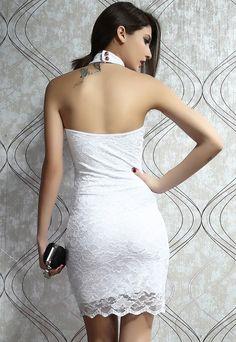 Open Back Mock Neck Mini White Dress