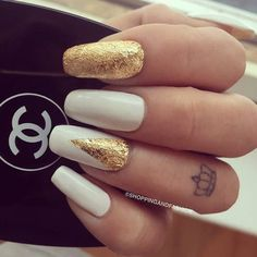 Gold Embellished White Nails