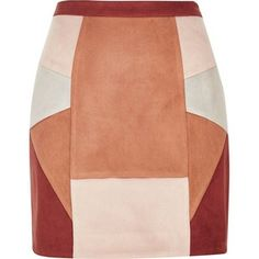 River Island Red faux suede patchwork mini skirt