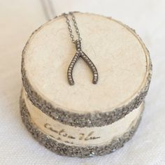 pave diamond wishbone necklace by between you & i | notonthehighstreet.com