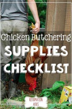 Chicken Butchering Supplies Checklist