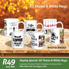 Payday Special: Create your own personalised White Mug or make use of our already designed templates. Offer only valid for 2 days!!