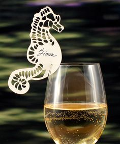 Seahorse designed personalized wine glass tags