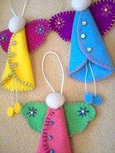 Felt angels .. no diy by sarahx Exelente idea para que mi hija la realice y experimente con diferentes colores.  :)