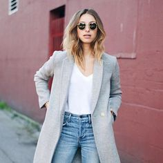 Light jeans white V-neck and a coat to die for.white@augustdiariesca #MyAritzia | Aritzia