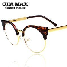 2013 free shipping womens circle vintage metal box plain mirror female star style glasses frame myopia