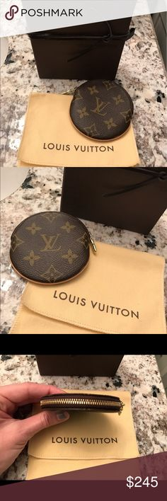 Authentic Louis Vuitton Round Coin Purse Authentic Louis Vuitton Round Coin Purse. Comes with dustbag and box. No tags & no receipt. Light patina on vachetta, overall great and clean condition inside and out! Item is being discontinued. Retails $260, $278 w/ tax. Made in France. Date Code: CT1026 Louis Vuitton Bags Wallets