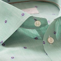 Fine stripes and micro floral.   Playful meets classic business in this mint navy embroidered poplin: http://bit.ly/1h4KZIX www.nmi.com.au/ #Etonofsweden