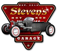 Personalized Hot Rod Garage Metal Sign