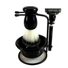 4 In 1 Men Shaving Kit 1 Brush + 1 Stand +1 Bowl + 1 Razor Shaver Set Beard Brush Classic Manual Razor