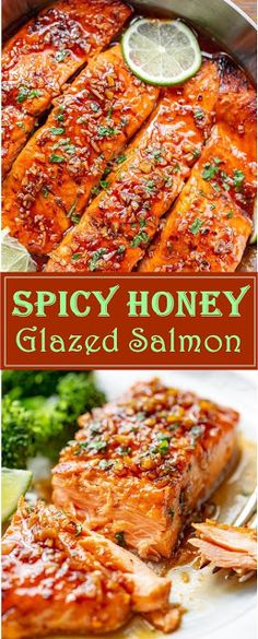 Spicy Honey Glazed Salmon Recipe Prep Time 10 mins Cook Time 20 mins Total Time 30 mins Easy and quick, our flavorful sal. Salmon Recipe Pan, Honey Glazed Salmon Recipe, Grilled Salmon Recipes, Healthy Salmon Recipes, Honey Recipes, Spicy Recipes, Seafood Recipes, Oven Salmon Recipes, Salmon Glaze