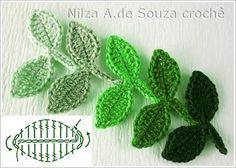 Luty Artes Crochet: Flores e folhas em crochê