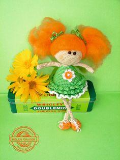 Doll Redhair handmade crochet angel redhead amigurumi dolly fairy green dress home decor orange gift for girl doll ginger art doll by KrugerShop on Etsy