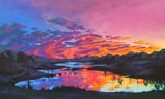 """The original of Until Tomorrow is acrylic on 36"""" x 60"""" gallery canvas and is in a private collection. The sun displays a glorious light show as it dips below the horizon where it rests until tomorrow when it will awaken and begin a new day. The intense colors in this painting, while vibrant, also work harmoniously with each other. For reproductions of this painting on paper, canvas, wood, metal or even household goods like pillows, tote bags and phone cases,clickhere."""