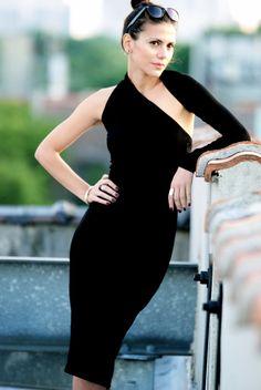 Black One Shoulder Dress / Pencil Dress / marcellamoda Signature Design - Midi Length - Model 03-1