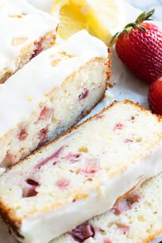 This easy to make loaf cake is loaded with lemon flavor thanks to fresh juice and zest, plus sweet juicy strawberries! Strawberry Bread Recipes, Lemon Dessert Recipes, Strawberry Desserts, Pound Cake Recipes, Lemon Recipes, Baking Recipes, Dessert Food, Dessert Ideas, Cake Ideas