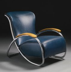 Blue K.E.M. Weber Armchair - chromium-plated steel, bent plywood and original leather upholstery, circa 1934, manufactured by Lloyd Manufacturing Company, Menominee, MI