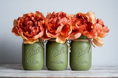 Green Mason Jars, Pint Mason Jars, Twine, Bows, Rustic, Holiday Decor, Arches, Country Primitive, Bowties