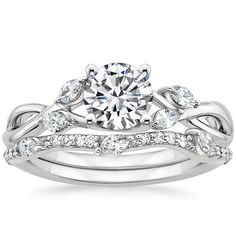 18K White Gold Willow Diamond Ring with Luxe Willow Diamond Wedding Ring (1/3 ct. tw.) from Brilliant Earth