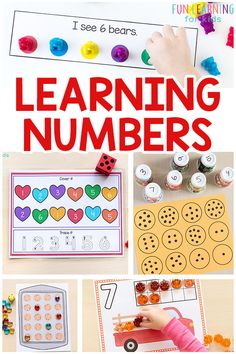 Learning numbers can be fun and engaging. These number activities are perfect for math centers and fun at home. From counting to number identification to number sense and more, these activities are perfect for teaching math. Number Activities, Printable Activities For Kids, Preschool Learning Activities, Kindergarten Activities, Fun Learning, Preschool Activities, Teaching Math, Free Printables, Nursing Printables