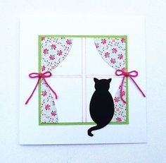 All Occasion Card, Handmade Blank Card, Cat in the Window, by WideSkyPapercrafts, £3.50