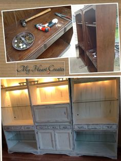 70's shelving units painted with ASCP Old White, heavily distressed and clear waxed.