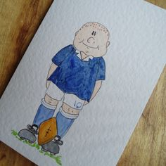 Rugby Player card by onelittlepug on Etsy, $2.25