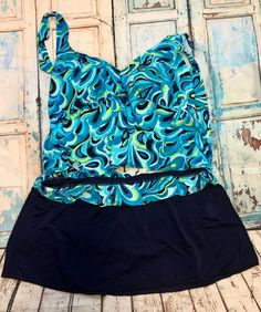 e83f9e409013e Beach Native Blue White Green Plus Size 2PC Tankini Swimwear Size 26W