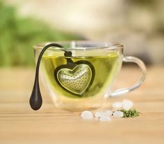 Heart Tea Infuser  Tea Heart is ideal for all kinds of tea. It floats in the teacup while its silicone arm rests easily