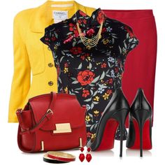 Yellow, Red and Black by snickersmother on Polyvore featuring Chanel, Uniqlo, Christian Louboutin, ALDO, Kate Spade, Marco Bicego and Kendra Scott