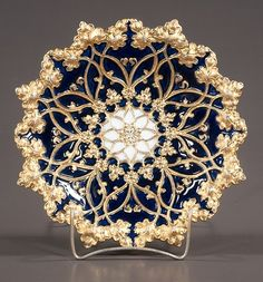 """Cobalt blue and gold German Meissen bowl with scalloped edge and leaf design, c.1900, 11"""" diameter, As Found (one small repair)"""