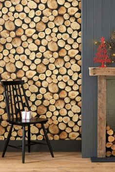 Buy Log Pile Wallpaper from the Next UK online shop -- Fairly simple DIY for the winter months