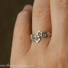 Cherry Blossom Branch Ring Sterling Silver