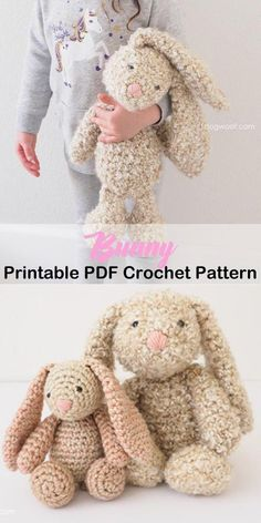 Make a cute bunny toy. Bunny Crochet Patterns -Easter Fun - A More Crafty Life Easter Crochet Patterns, Crochet Bunny Pattern, Crochet Rabbit, Crochet Patterns Amigurumi, Cute Crochet, Crochet For Kids, Crochet Crafts, Crochet Dolls, Crochet Yarn