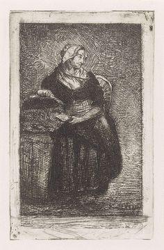 Kornelis Jzn de Wijs | Vissersvrouw, Kornelis Jzn de Wijs, 1842 - 1896 | Een vrouw toont een mand en houdt in de linkerhand een vis.
