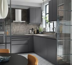 Kjøkken – VOXTORP - IKEA Dark Countertops, Laminate Countertops, Kitchen Countertops, Kitchen Furniture, Kitchen Interior, New Kitchen, Dark Grey Kitchen Cabinets, Grey Kitchens, Banquette Ikea