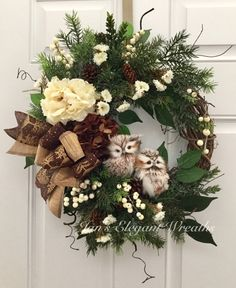 A personal favorite from my Etsy shop https://www.etsy.com/listing/545240428/fall-wreath-owl-wreath-winter-wreath