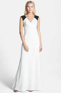 Vera Wang Lace Detail Matte Crepe Gown available at #Nordstrom