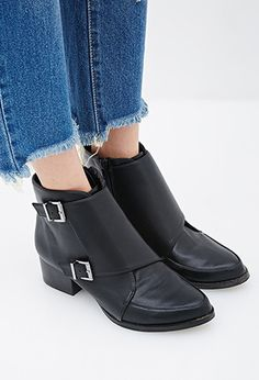 Buckled Faux Leather Booties | Forever 21 - 2000056750