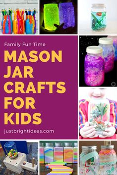 So many fun mason jar crafts for kids in this collection! From painted pencil jars and money banks to glow in the dark jars and mini jungles - just grab some mason jars and enjoy some creative time with your child this weekend!