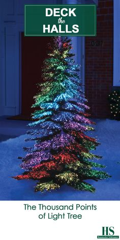 The Thousand Points of Light Tree - This is the indoor/outdoor tree that generates 23 dancing displays of multi-colored or bright white light, only available from Hammacher Schlemmer. The fiber optic tips seamlessly change from red, orange, yellow, green, blue, purple, and any other color, or produce glistening white illumination, ensuring the attention of passers-by with swirling, twisting, and alternating bands of color.
