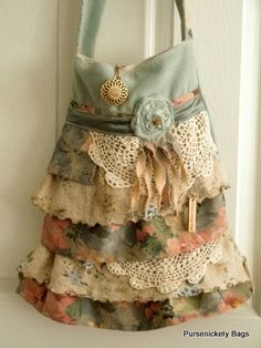 Gypsy Bag, large Shabby Chic bag, soft thick green floral, cream and doilies