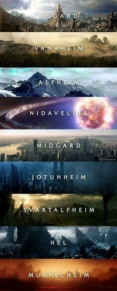 9 worlds - Marvel Universe 9 worlds Marvel Movies Timeline, Marvel Films, Marvel Characters, Marvel Avengers, Marvel Dc Comics, Marvel Heroes, Funny Avengers, Captain Marvel, Marvel Universe