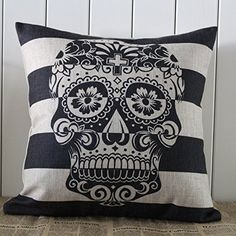 45x45cm Skull Stripe Halloween All Hallows' Eve Gift Present Linen Cushion Covers Pillow Cases Trick-or-treating Decho http://www.amazon.com/dp/B00ER57VDS/ref=cm_sw_r_pi_dp_lnYbvb1FNKTQQ