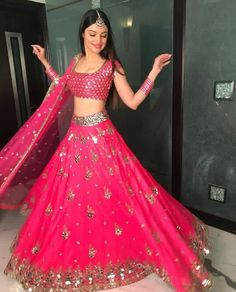 Stunning pink lehenga with Mirror work Pink Lehenga, Bridal Lehenga Choli, Indian Lehenga, Indian Bridal Outfits, Indian Designer Outfits, Dress Indian Style, Indian Dresses, Lehnga Dress, Gown