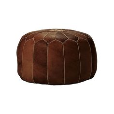 Tan Moroccan Leather Pouf | Serena & Lily