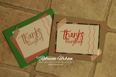 Quick and Easy Thank You Cards! - 101 Projects with Rebecca.  Stampin Up All things thanks.  Stampin' Up! Delicate Details.