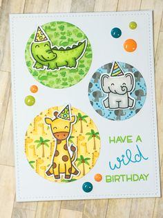 Lawn Fawn Wild for You | Doodlebug At the Zoo | 10 cards 1 Stamp | YouTube Scrapbena Creations