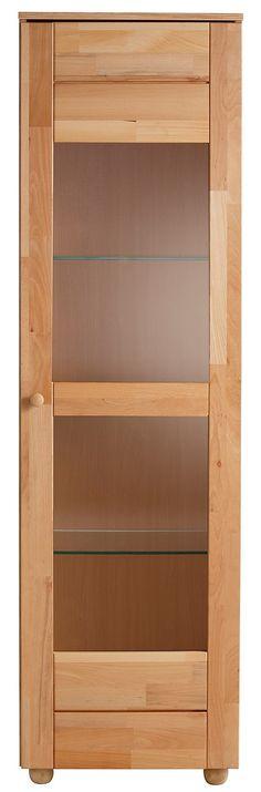 In folgenden Farben erhältlich:  Korpus/Front: Kernbuche,  Details:  1 Tür mit Glaseinsatz, 1 fester Holzboden/mittig, 2 Glasböden, 3-fach höhenverstellbar, Fachinnenmaße mittig (B/T/H): ca. 2x 50/37/35 cm, Fachinnenmaße oben und unten (B/T/H): ca. 2x 50/37/59 cm, Im Landhaus-Stil, FSC®-zertifiziertes Massivholz, Pflegeleichte Oberflächen, Das Holz ist geölt., In hochwertiger Verarbeitung,  Maß...